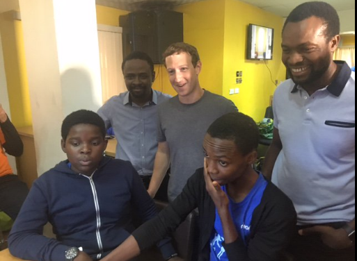 Zuck with young geeks