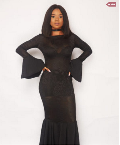 Black Lola Dress with Bell Sleeves and Bell Bottoms