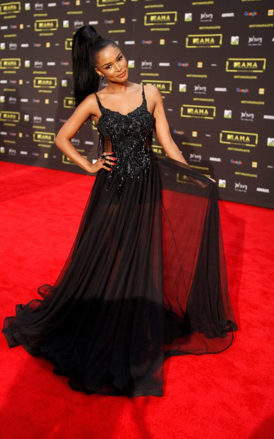 The actress Ayanda Thabethe at the red carpet during the MAMA 2016, in Johannesburg, South Africa on October 22nd, 2016