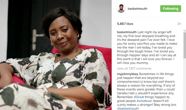 Basketmouth announces his mother's demise