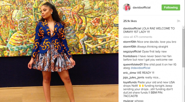 "The Instagram post which announced Lola Rae as the ""first lady"" of DMW"