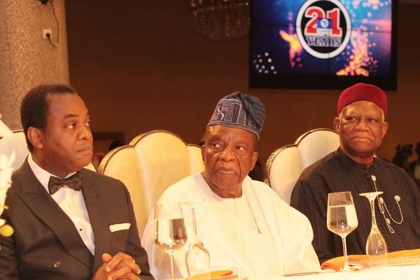 From left: Former Cross Rivers State Governor, Mr. Donald Duke; Chairman, Doyin Group of Companies, Prince Samuel Adedoyin and Former Minister of Foreign Affairs, Gen. Ike Nwachukwu (rtd).