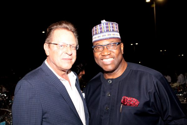 US consul general, Lagos, John Bray and Chairman, Channels Television, Tony Momoh..