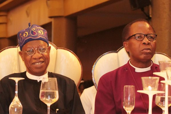 Minister of Information and Culture; Alhaji Lai Mohammed (left) and Dean Emeritus and Anglican Diocesan Bishop of Lagos, Most Rev. Dr. Ephraim Ademowo.