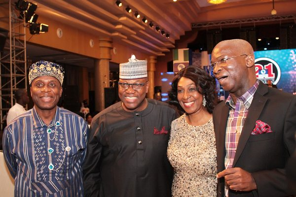 From left: Minister of Transportation; Mr. Rotimi Amaechi; Chairman, Channels Media Group, Mr. John Momoh, his wife, Mrs. Shola and Minister of Power, Works and Housing, Mr. Babatunde Fashola.