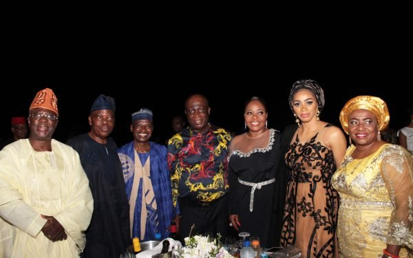 From left: Chief Gbenga Obasa; Chief Rasaki Okoya; Justice Suleiman Galadima (rtd); Justice George Oguntade (rtd); his wife, Mrs. Dupe; Dr. Shade Okoya and Olori Titilola Akiolu...at a 79th birthday celebration of Lt. Gen. Danjuma, held at Eko Atlantic, Victoria Islannd, Lagos...on Friday PHOTO BY AKINWUNMI IBRAHIM