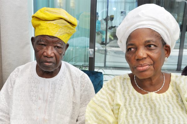 Former Governor of Lagos State, Alhaji Lateef Jakande and wife, Alhaja Abimbola Sikirat....
