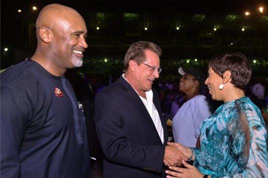 From left: Convener/Pastor, House on the Rock, Mr. Paul Adefarsin; US Consulate- General, Mr. John Bray and wife of the Pastor, Mrs. Ifeanyi Adefarasin, at the 11th edition of The Experience 2016 Lagos' held at Tafawa Balewa Square (TBS) on Friday...