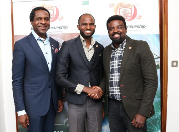 Executive director/co-founder, Sahara Group, Tonye Cole, winner, 'Sahara Group's Grooming Film Extrapreneurs Competition', Joseph Duke and producer/director, Kunle Afolayan