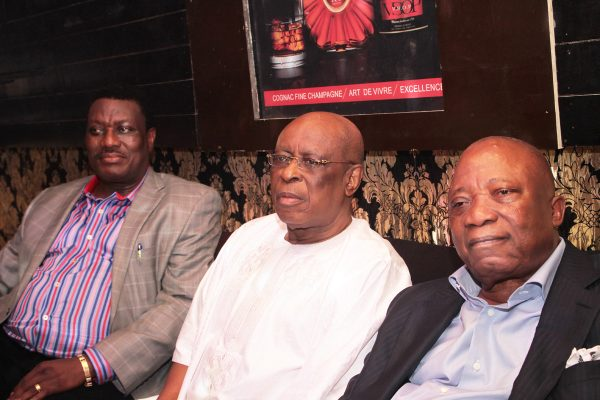 From left: President Lagos Lawn Tennis Club, Barr. Rotimi Edu; Former Governor of Ogun State, Aremo Segun Osoba and Chief Executive Officer, Premiere Lotto, Chief Kesington Adebutu.