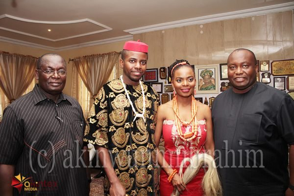 Bride's father, Dr. Chike Akunyili; Groom, Dr. Nonso Asuzu; Bride, Dr. Somto Akunyili and Chairman, Capital Oil, Chief Ifeanyi Uba; during the traditional marriage/wedding ceremony of the couple in Agulu, Anambra State on Saturday
