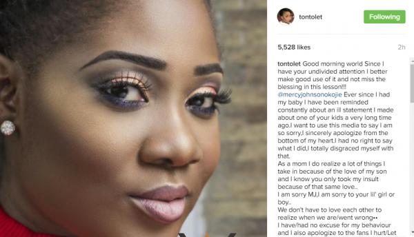 Tonto Dikeh's apology to Mercy Johnson