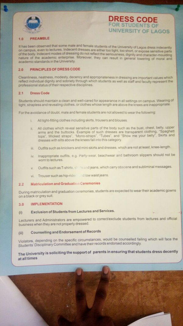 The circular, as obtained from an undergraduate of UNILAG
