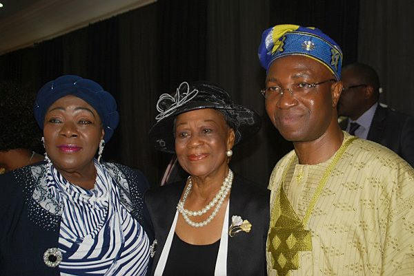 Pic 4 shows left Former D G,Stock Exchange,Prof.Ndi Okereke-Onyiwke; Celebrant Chief.Folake Solanke [SAN] and Chief.Wole Olanipekun [SAN] at the Celebration.