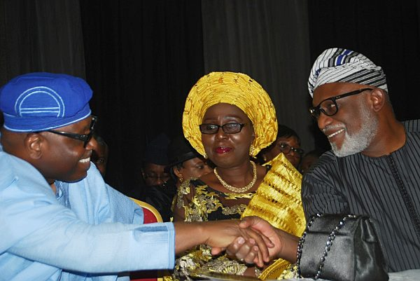 Pic 5 shows left Secretary to Oyo State Government, Alh.Olalekan Alii; Wife of Ondo State Governor,Mrs.Betty Akeredolu and Ondo State Governor,Arakunrin Rotimi Akeredolu [SAN].