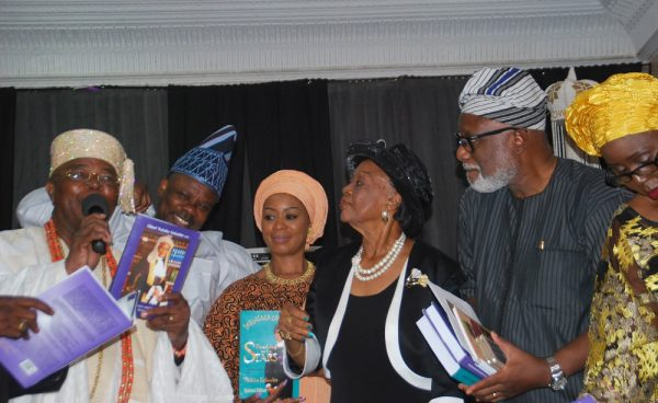 shows left Alake of Egbaland Oba Adetokunbo Gbadebo;Ogun State Governor,Ibikunle Amosun;his Wife Felusho; Celebrant Chief.Folake Solanke [SAN]; Ondo State Governor,Arakunrin Rotimi Akeredolu [SAN] and his Wife Betty Akeredolu at the Celebration of Chief Folake Solanke 85th Birthday held in Ibadan