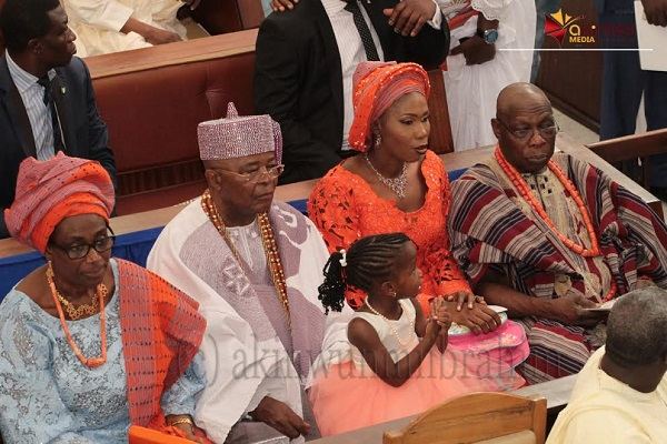 From left: Wife of the Former President, Mrs. Bola; Alake of Egbaland, Oba Adedotun Gbadebo; Mrs. Bunmi Obasanjo-Williams and Former President, Olusegun Obasanjo; during the wedding ceremony of their children held at Methodist Church of the Trinity, Tinubu, Lagos, on Saturday...PHOTO BY AKINWUNMI IBRAHIM