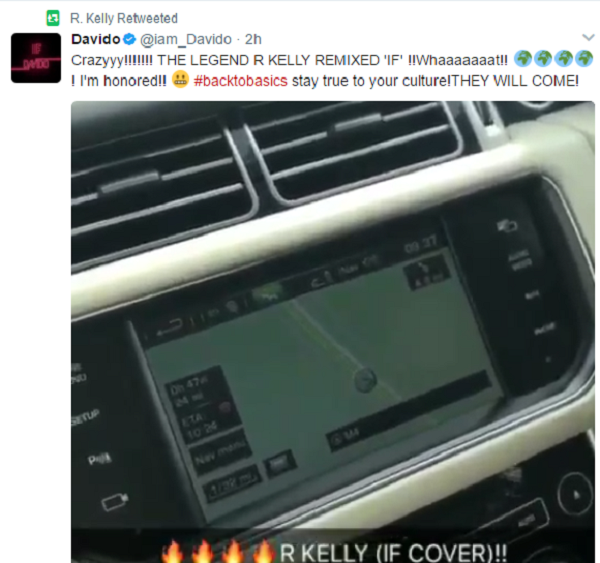 Screenshot of R Kelly's retweet