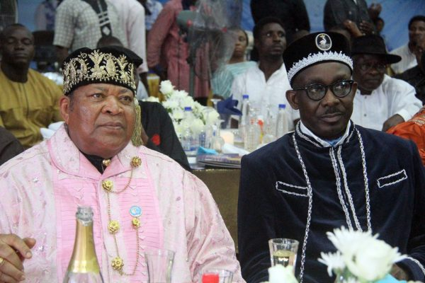 L-R King Dandeson Douglas, Amayanabo of Opobo/Chairman, Rivers State Traditional Rulers Council and King Edward Asimini, Amayanabo of Grand Bonny during the Rivers State Golden Jubilee Awards and houours Night Weekend in Port Harcourt. Photo: Nwankpa Chijioke