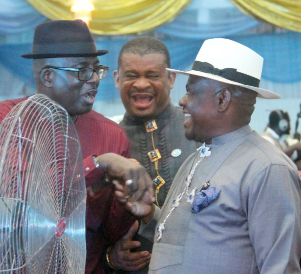 L-R Hon Prince Chibudom Nwuche, Former Deputy Speaker, House of Representatives; Sen Lee Maeba and Governor Nyesom Wike during the Rivers State Golden Jubilee Awards and houours Night Weekend in Port Harcourt. Photo: Nwankpa Chijioke
