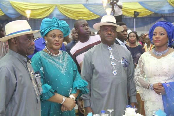 Governor Nyesom Wike and his Wife Suzzeth Wike [R] with Dr Peter Odili Former Rivers State Governor and His Wife Justice Mary Odili [L] during the Rivers State Golden Jubilee Awards and houours Night Weekend in Port Harcourt. Photo: Nwankpa Chijioke