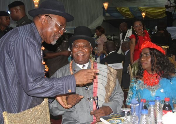 L-R Dr Abiye Sekibo, Chairman of the Occassion; King Alfred Diete Spiff, Amayanabo of Twon Brass with his Wife Victoria Diete Spiff during the Rivers State Golden Jubilee Awards and houours Night Weekend in Port Harcourt. Photo: Nwankpa Chijioke