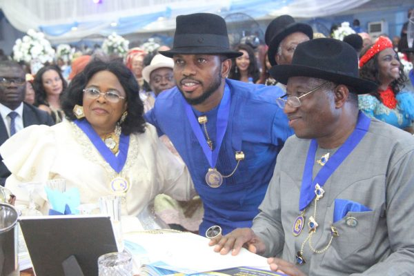 Ex-President, Goodluck Jonathan[R] with His Wife, Dame Patience Jonathan[L] and Ex- Super Eagles Captain, Joseph Yobo [M] during the Rivers State Golden Jubilee Awards and houours Night Weekend in Port Harcourt. Photo: Nwankpa Chijioke