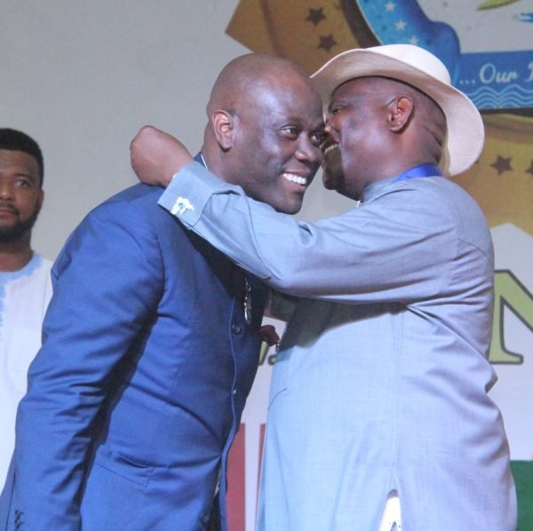 R-L Rivers State Governor, Nyesom Wike Presenting the Distinguish Service Star of Rivers State Award [DSSRS] to Herbert Wigwe, MD Access Bank during the Rivers State Golden Jubilee Awards and houours Night Weekend in Port Harcourt. Photo: Nwankpa Chijioke