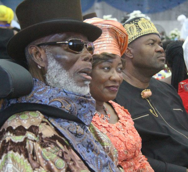 L-R High Chief O.B Lulu Briggs Founder, Moni Pulo Ltd, his Wife Seinye Lulu Briggs and Sen John Mbata, MD Monier Construction Company during the Rivers State Golden Jubilee Awards and houours Night Weekend in Port Harcourt. Photo: Nwankpa Chijioke