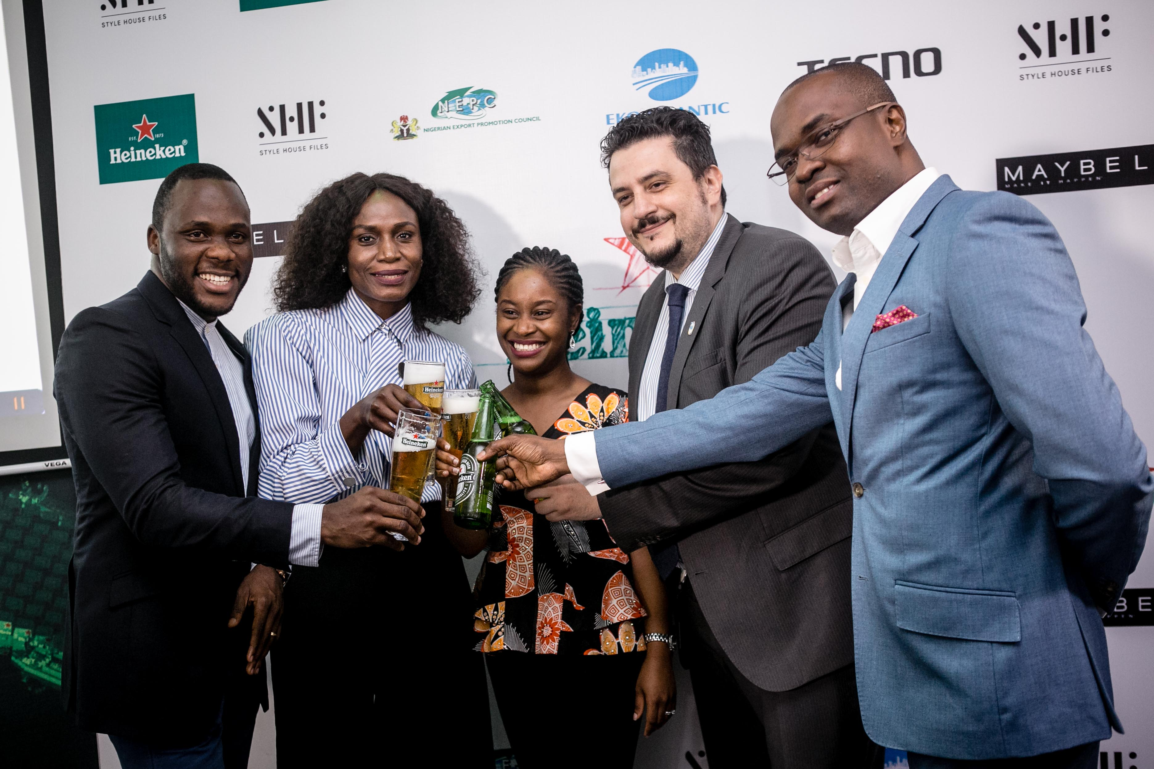 L-R:Senior Brand Manager, Heineken,Obabiyi Fagade; Founder, Style House Files & LFDW,Omoyemi Akerele; Assistant Brand Manager, Heineken,Aminah Jagun;Marketing Director, NB Plc,Franco Maria Maggi; and Portfolio Manager International and National Brands, NB Plc,Tokunbo Adodoat the#HeinekenLFDW17Press Cocktail held at the Heineken House, Ikoyi, Lagos on Friday