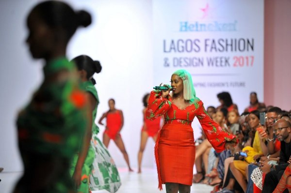 africa inspiredTiwa Savage performing during the presentaion of the Africa Inspired Fashion by Heineken at the Heineken Lagos Fashion and Design Week 2017