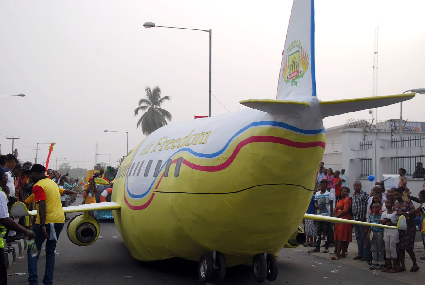 A Dummy Aircraft designed by Freedom Band during the Main Event of the 2017 Carnival Calabar in Cross River State Yesterday. Photo: Nwankpa Chijioke