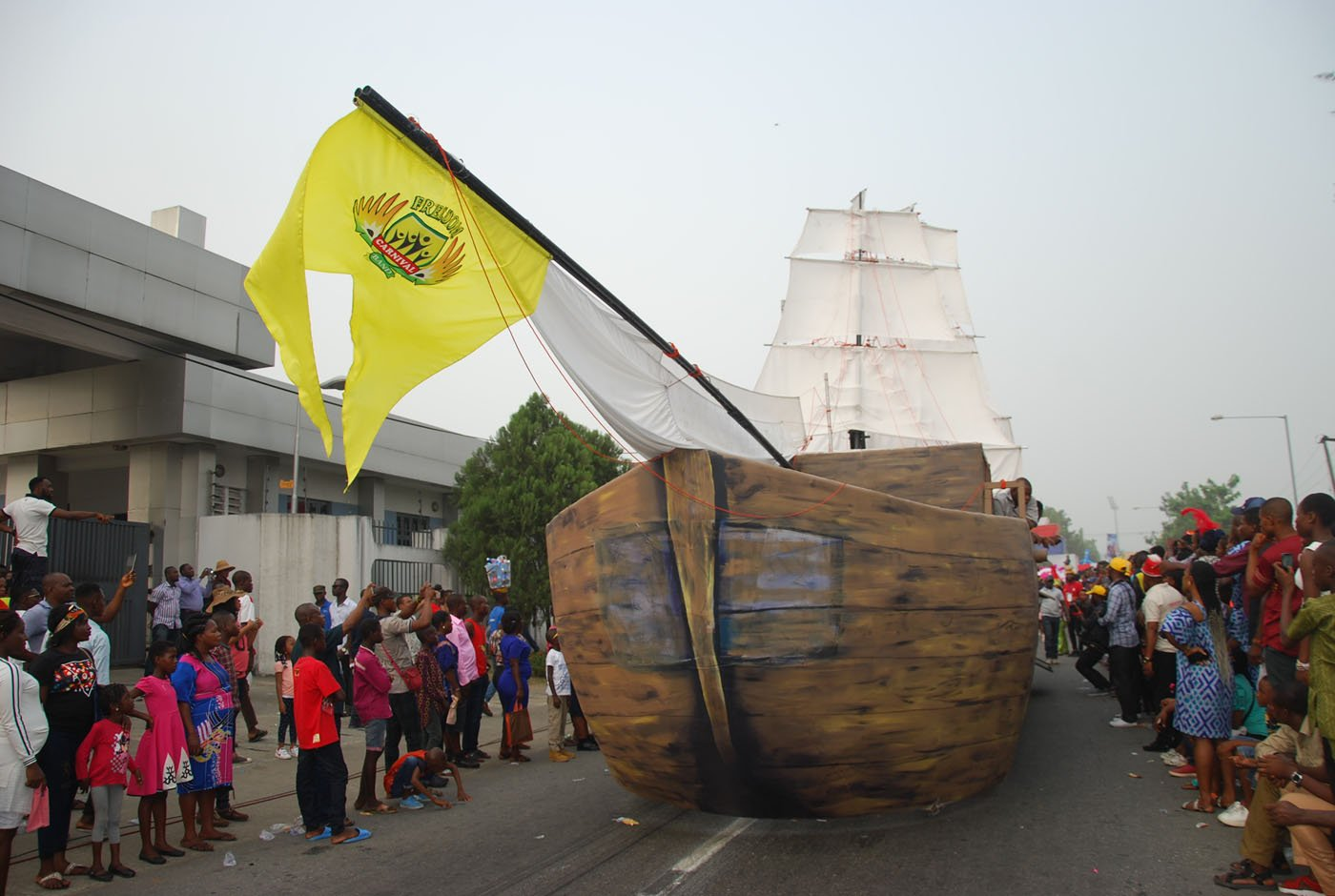 A Dummy Ship Designed by Freedom Band during the Main Event of the 2017 Carnival Calabar in Cross River State Yesterday. Photo: Nwankpa Chijioke