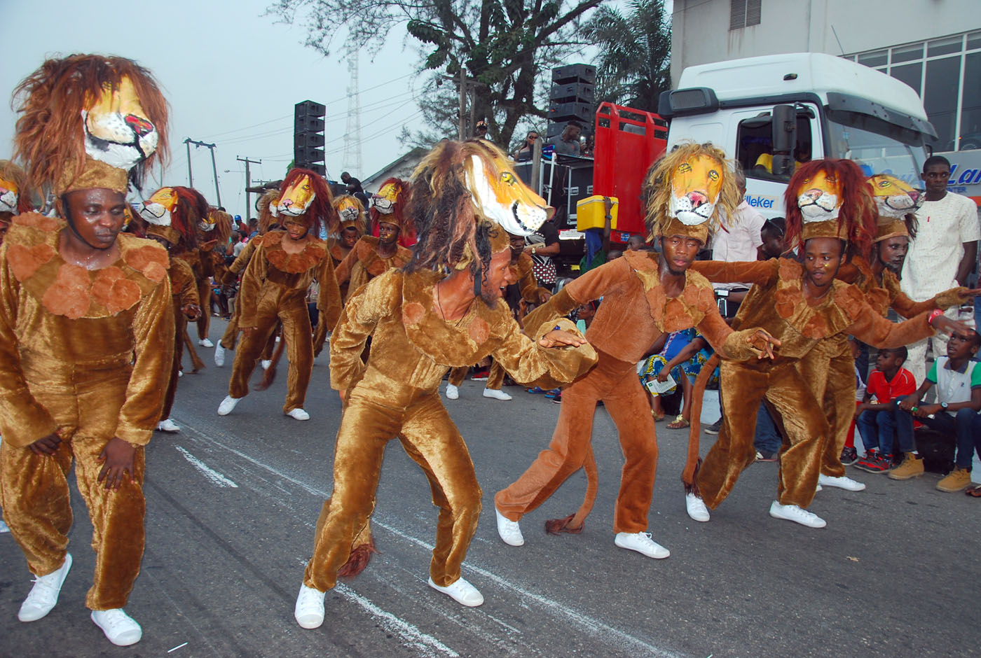 Members of Masta Blasta Band with Lion Costume during the Main Event of the 2017 Carnival Calabar in Cross River State Yesterday. Photo: Nwankpa Chijioke