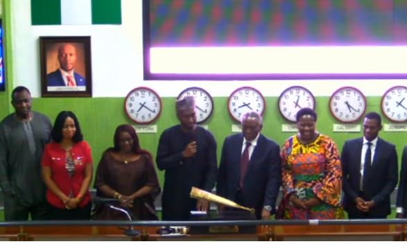 Olu Jacobs, Joke Silva ring closing bell at NSE | TheCable.ng