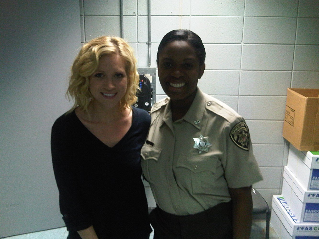 "Sope Aluko and Brittany Snow on the set of ""96 Minutes"""