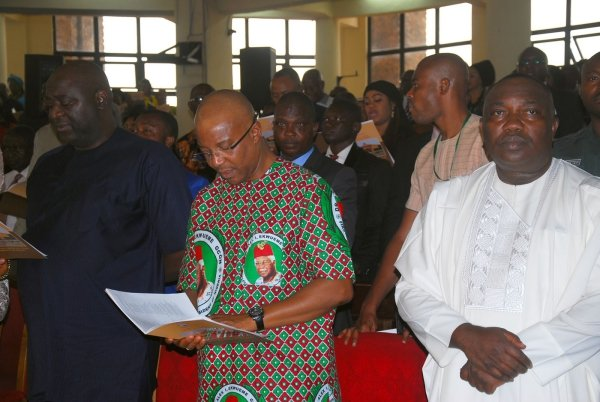 R-L Enugu State Governor, Ifeanyi Ugwuanyi; Dr Nkem Okeke, Deputy Governor of Anambra State and Rt Hon Edward Ubosi, Speaker Enugu State House of Assembly during Service of Songs in Honour of Late Dr Alex Ekwueme, Former Vice President of Nigeria Yesterday at the Cathedral Church of the Good Shepherd in Enugu. Photo: Nwankpa Chijioke