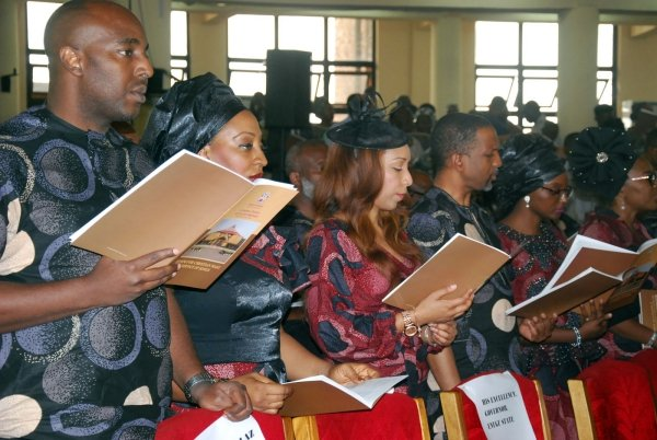 A Cross Section of Family Members and Relatives during Service of Songs in Honour of Late Dr Alex Ekwueme, Former Vice President of Nigeria Yesterday at the Cathedral Church of the Good Shepherd in Enugu. Photo: Nwankpa Chijioke