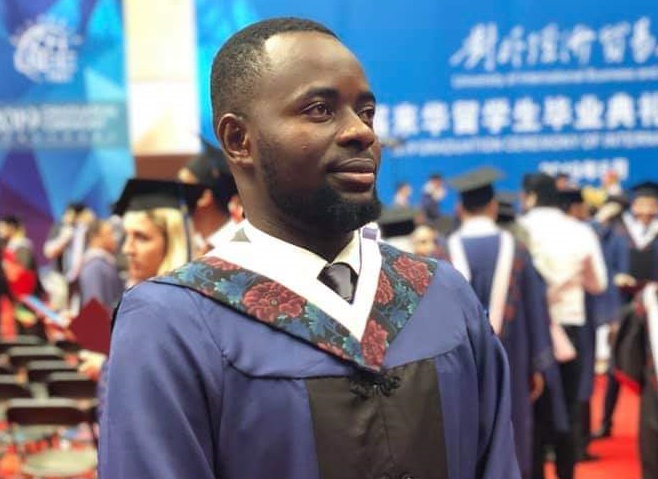 Peter Eze, outstanding student in Chinese university