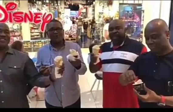 VIDEO: Aliko Dangote enjoys 'Gelato' with friends