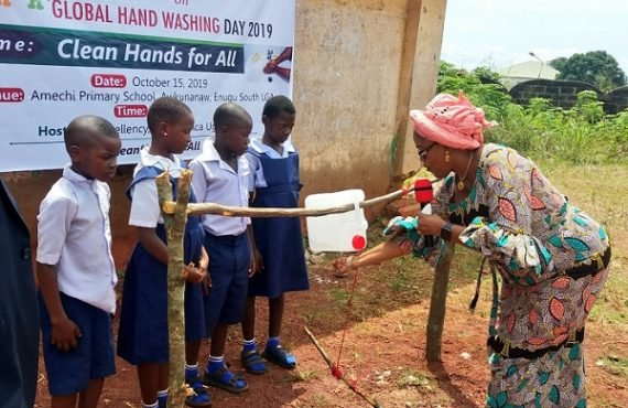 reactions as Enugu first lady constructs tippy taps for primary school pupils