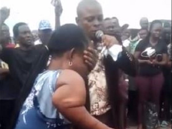 TRENDING VIDEO: Two Nigerian pastors accused of using a woman for same miracle