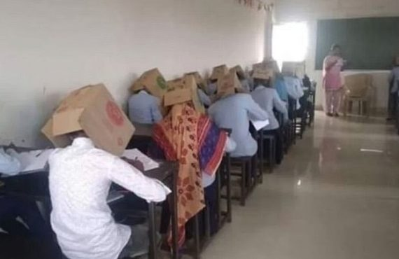 Students made to wear boxes on their heads during exam…