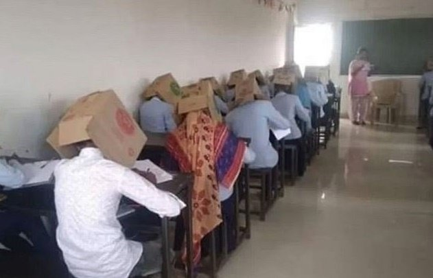 Students forced to wear boxes on their heads during exam to prevent cheating