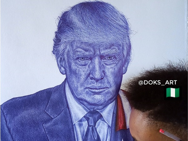 Trump hails Nigerian artist who drew his portrait