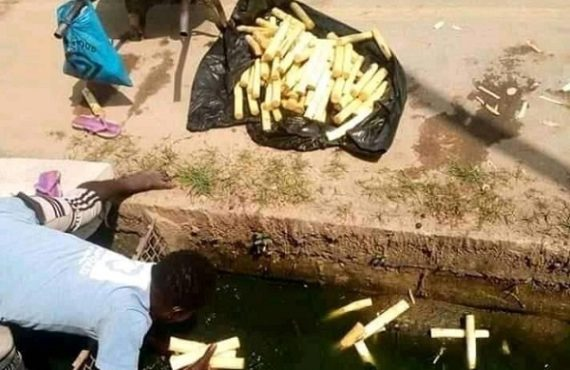 Outrage as trader retrieves sugarcane sticks from culvert 'for sale'