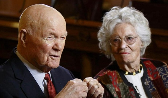 Wife of John Glenn, first American to orbit earth, dies of COVID-19 at 100