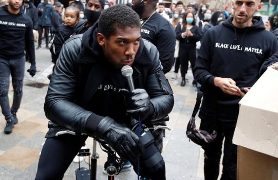 Anthony Joshua speaks out at Black Lives Matter protest