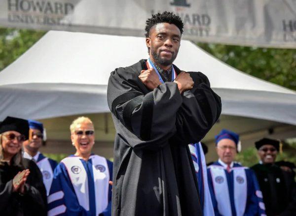Chadwick Boseman gives 'Wakanda Forever' salute at Howard graduation