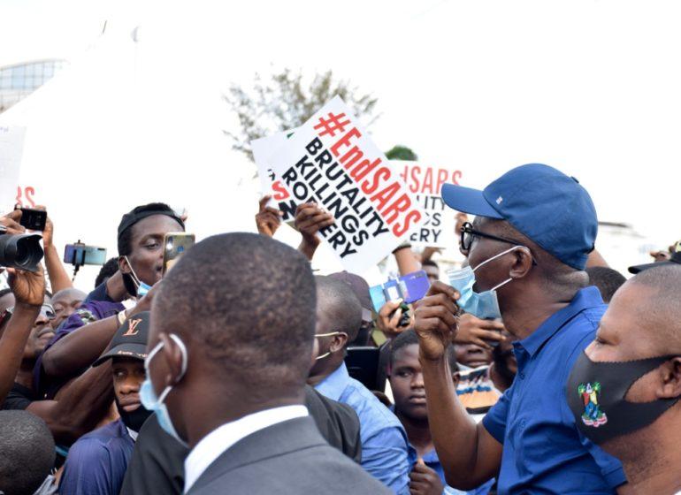 VIDEO: #EndSARS protesters shush Sanwo-Olu with Davido's 'FEM'